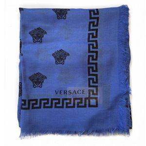 VERSACE Medusa Pattern Blue Silk Blend Scarf - NWT